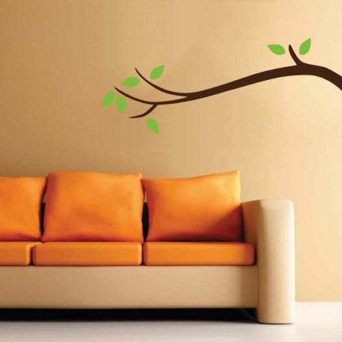 Adesivi murali tronco con foglie