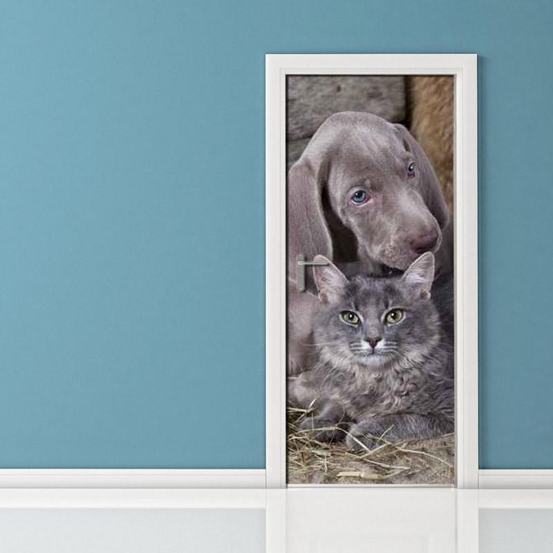 Adesivo per porta cane e gatto simpatici vendita online for Felpa con marsupio porta gatto