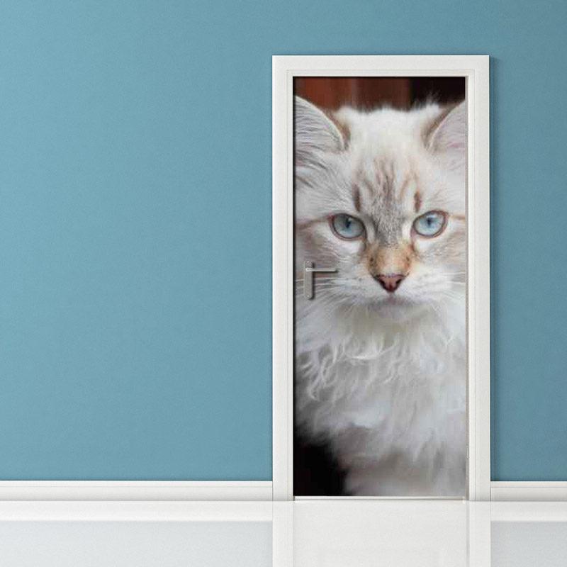 Adesivi per porte: gatto bianco