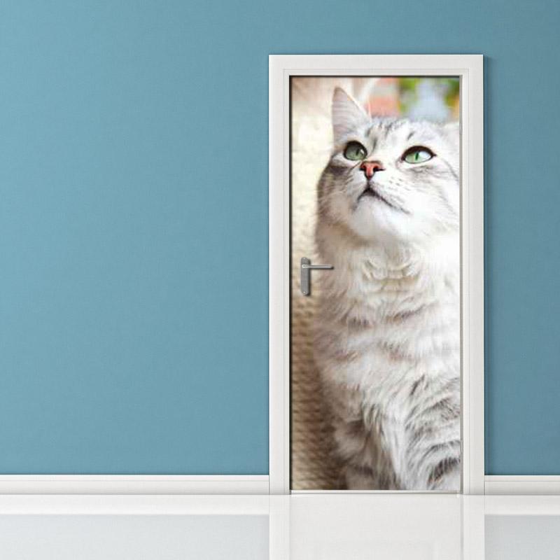 Adesivo per porta: gatto cacciatore