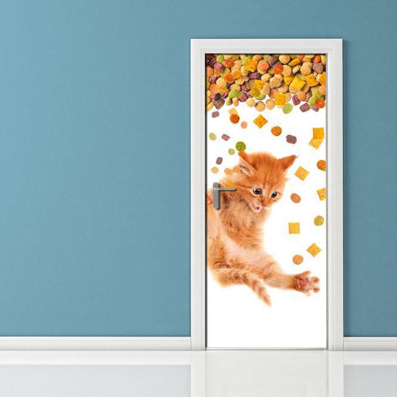 Adesivo per porta: gatto che cade