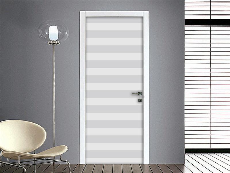 Adesivo per porta righe orizzontali bianco nero