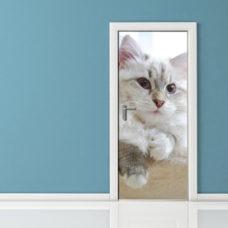 Adesivo per porte gatto pensieroso