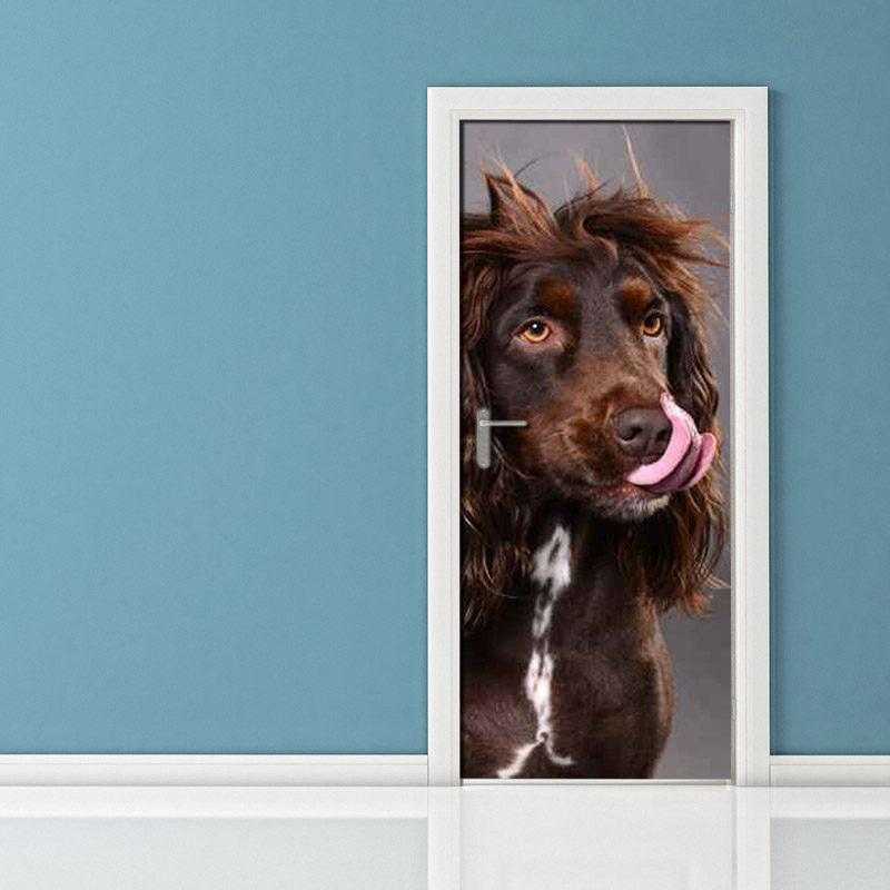 Adesivo per porta: cane spettinato