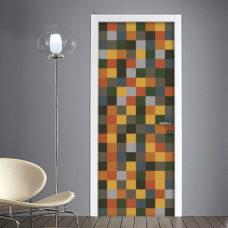 Adesivo per Porta Vintage quadrati colorati