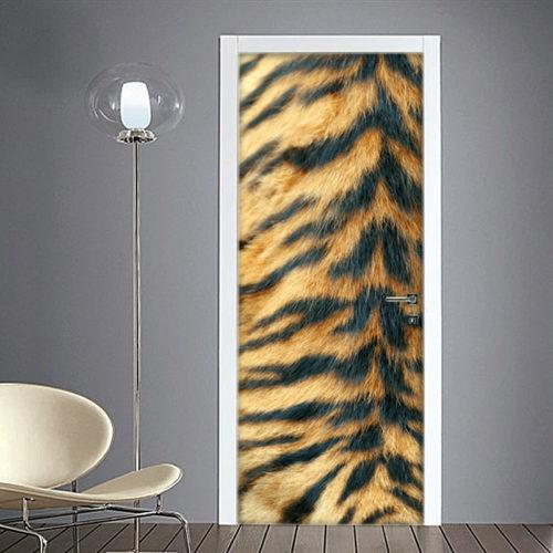Adesivo per porta con pelo di tigre