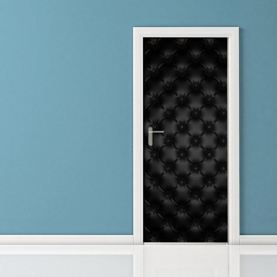 Adesivo per porte pelle nera - Pannello decorativo per porte ...