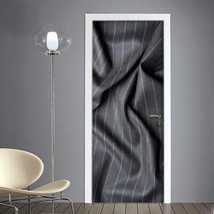 Adesivo porta blindata tessuto gessato stropicciato