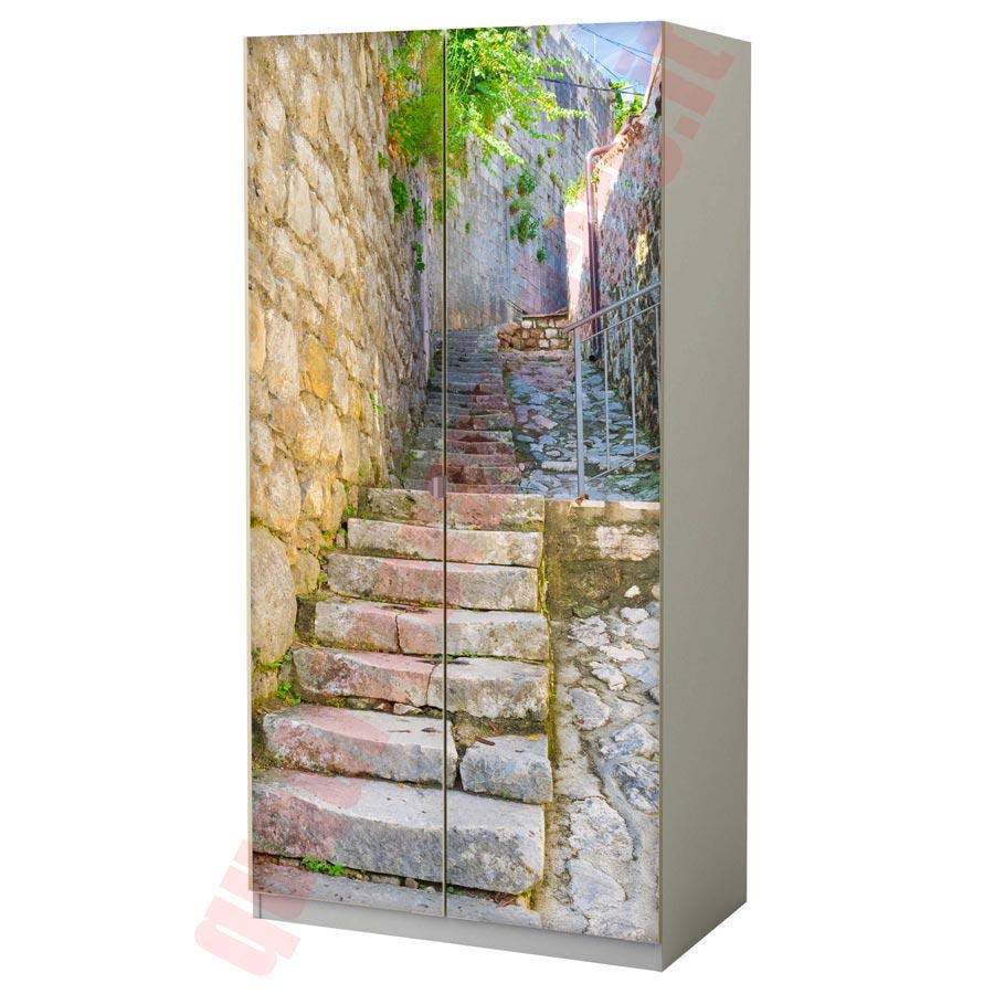 Pellicola adesiva per mobili scalinata in pietra - Carta adesiva per rivestire mobili ...