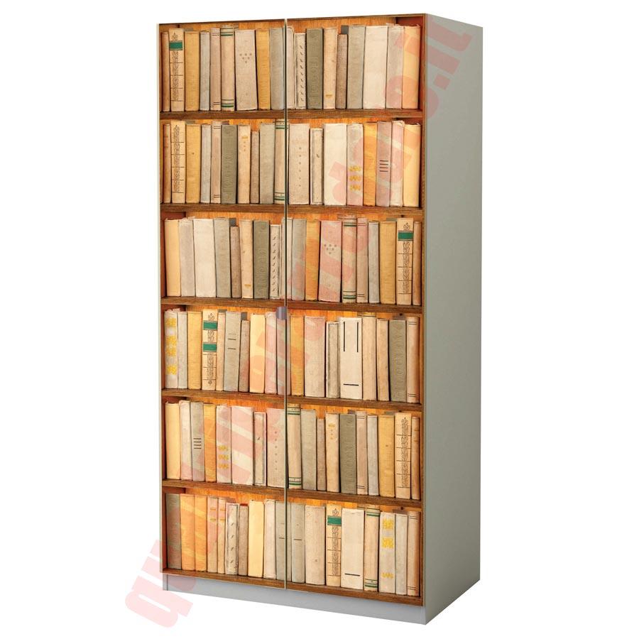 Pellicola adesiva per mobili finta libreria for Armadio shabby ikea