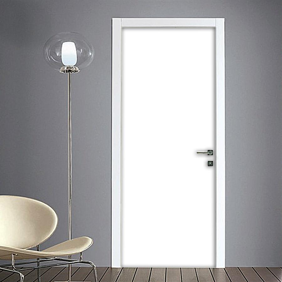 Porte Interne Shabby Chic adesivo per porta tinta unita colore bianco opaco