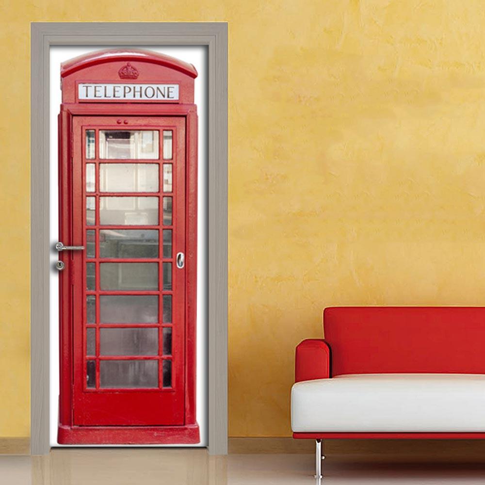 Cabina telefonica rossa adesivo porta su quadriperarredare for Cabina telefonica inglese arredamento