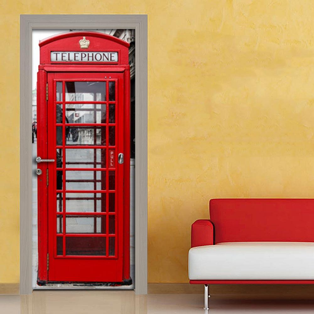 Cabina telefonica rossa inglese adesivo porta su for Cabina telefonica inglese arredamento