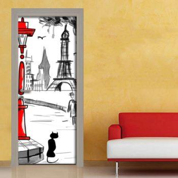 Parigi disegno con Torre Eiffel adesivo per porta