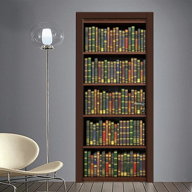 Adesivo finta libreria per porta