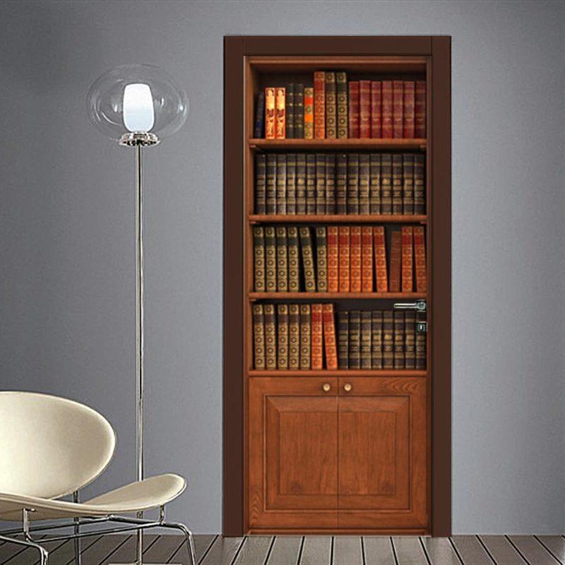 Adesivo finta libreria classica per porta - Decorazioni porte interne ...