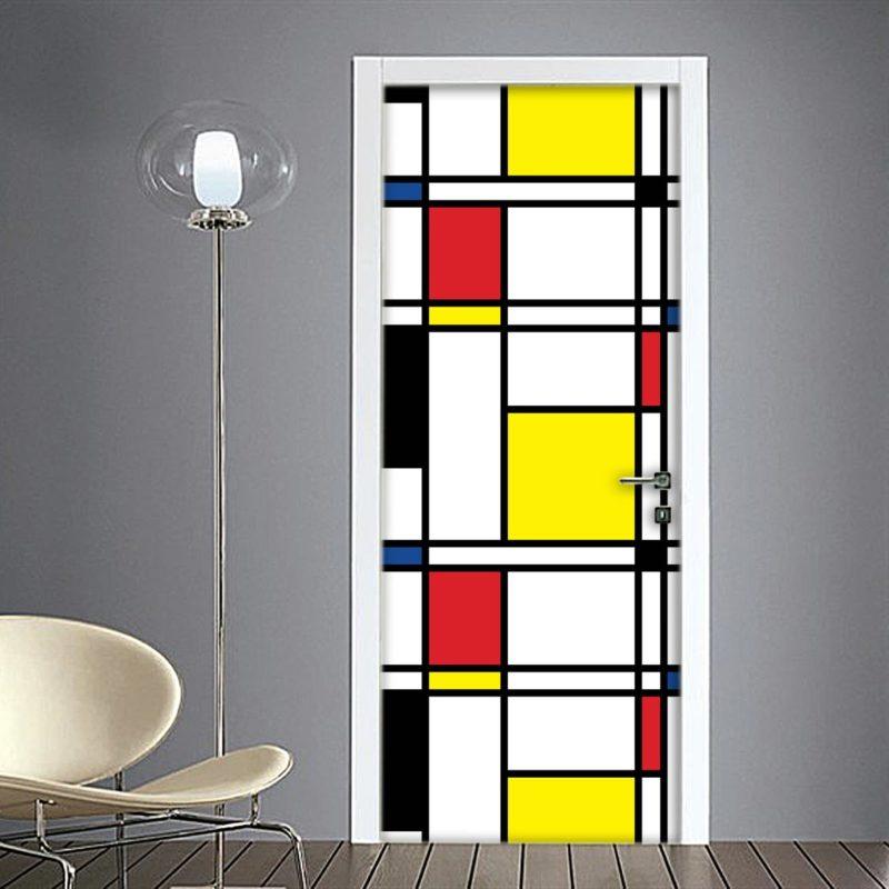 Mondrian composizione adesivo per porta