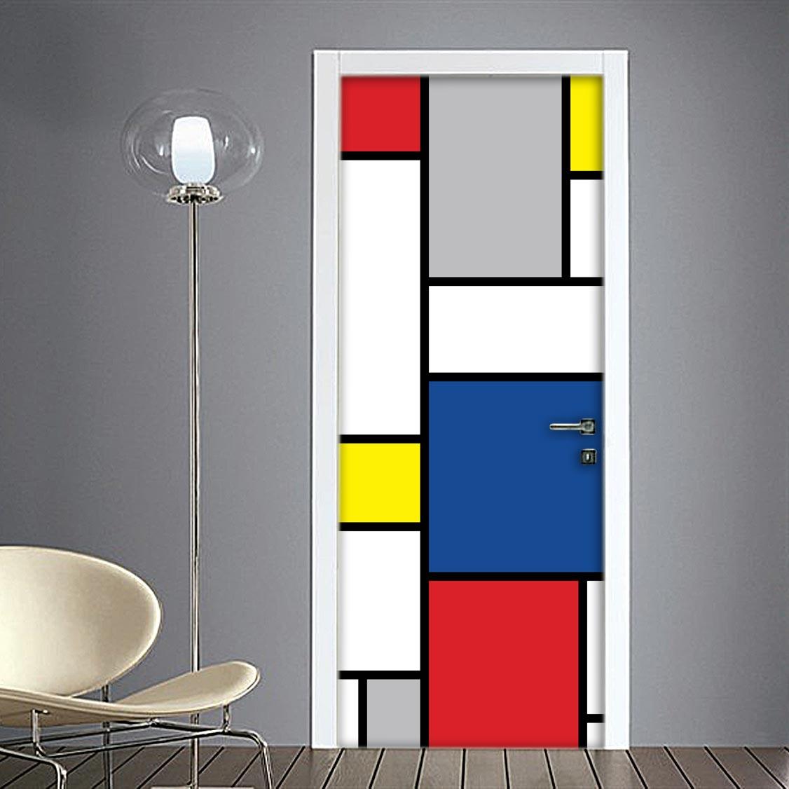 Mondrian adesivo porta riproduzione opere d 39 arte - Porte d interni design ...