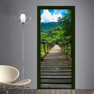 Sentiero su ponte in legno adesivo per porta
