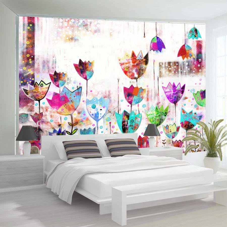 Carte da parati a fiori esplosione di colori e fantasia for Carta da parati con fiori