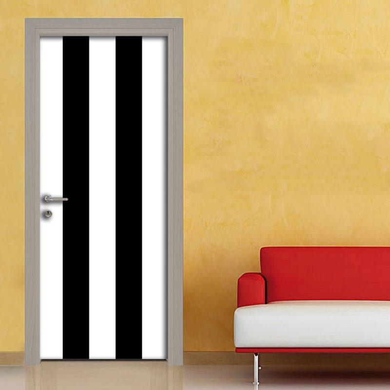 Adesivo porta righe bianche e nero