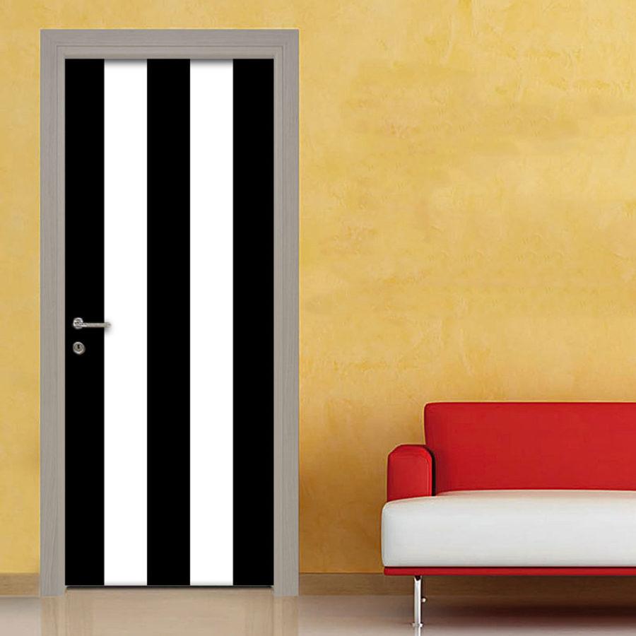 Adesivo porta righe bianco e nero