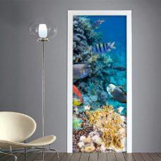 Adesivo porta: pesci sott'acqua