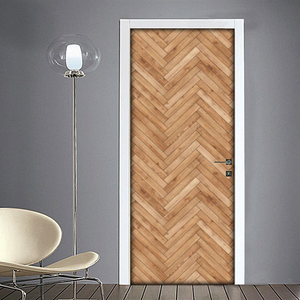 Adesivo per porta effetto legno a zig zag for Adesivi per porte in legno