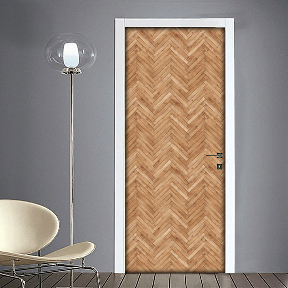 Adesivo per porta effetto legno zig zag for Laminato adesivo