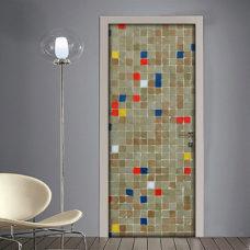 Adesivo per porte mosaico colorato