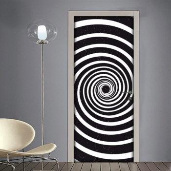Adesivo per Porta: Spirale 3D per Illusione Ottica