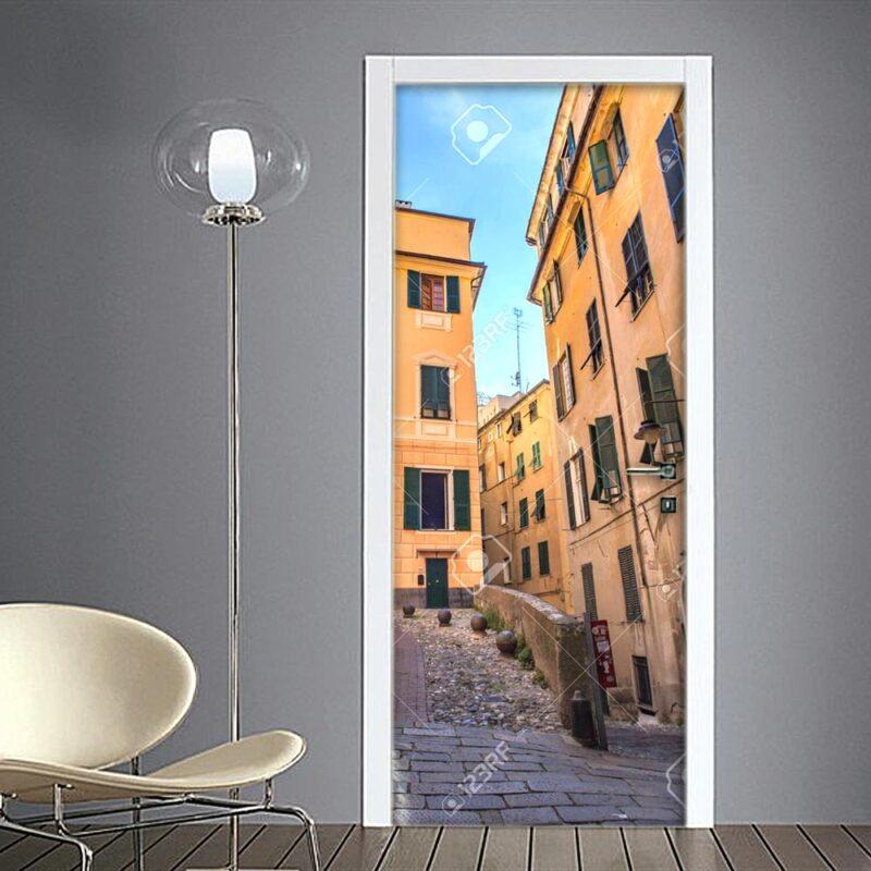 Adesivo per porta: Genova scorcio centro storico