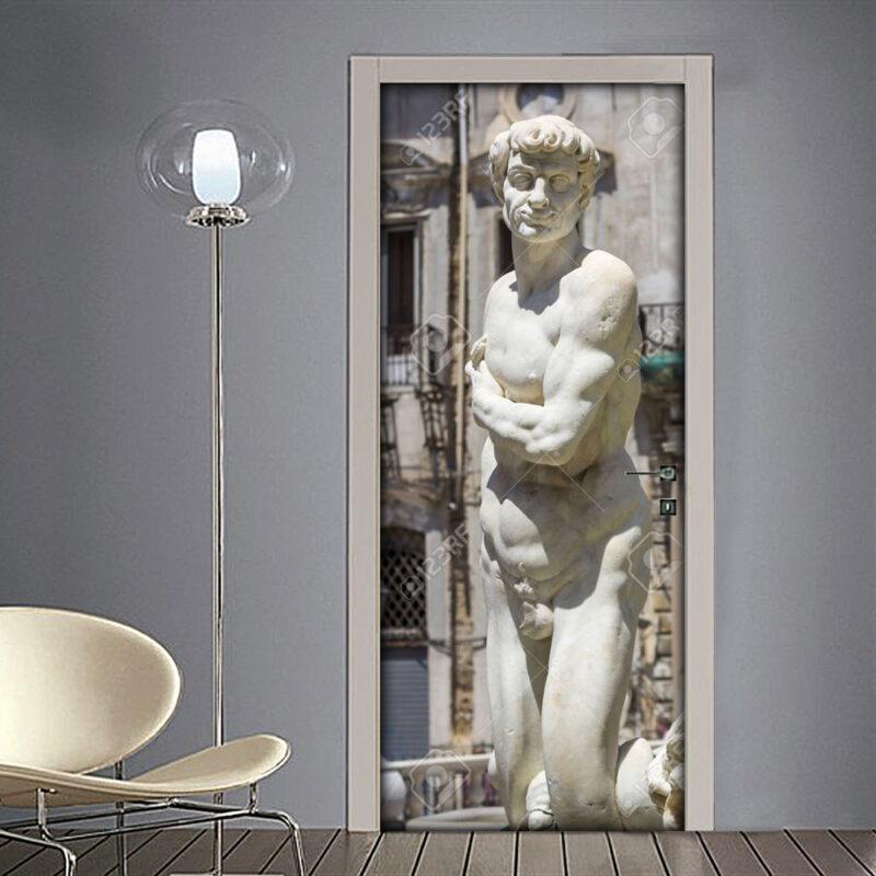 Adesivo per porta: Palermo Statue antiche di marmo Fontana Pretoria