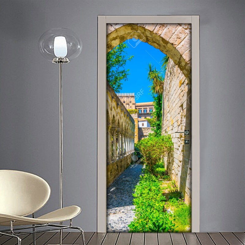 Adesivo per porta: Palermo giardini Chiesa San Giovanni degli Eremiti (Sicilia)