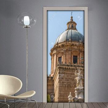 Adesivo per porta: Palermo vista della Cattedrale Assunzione Vergine Maria