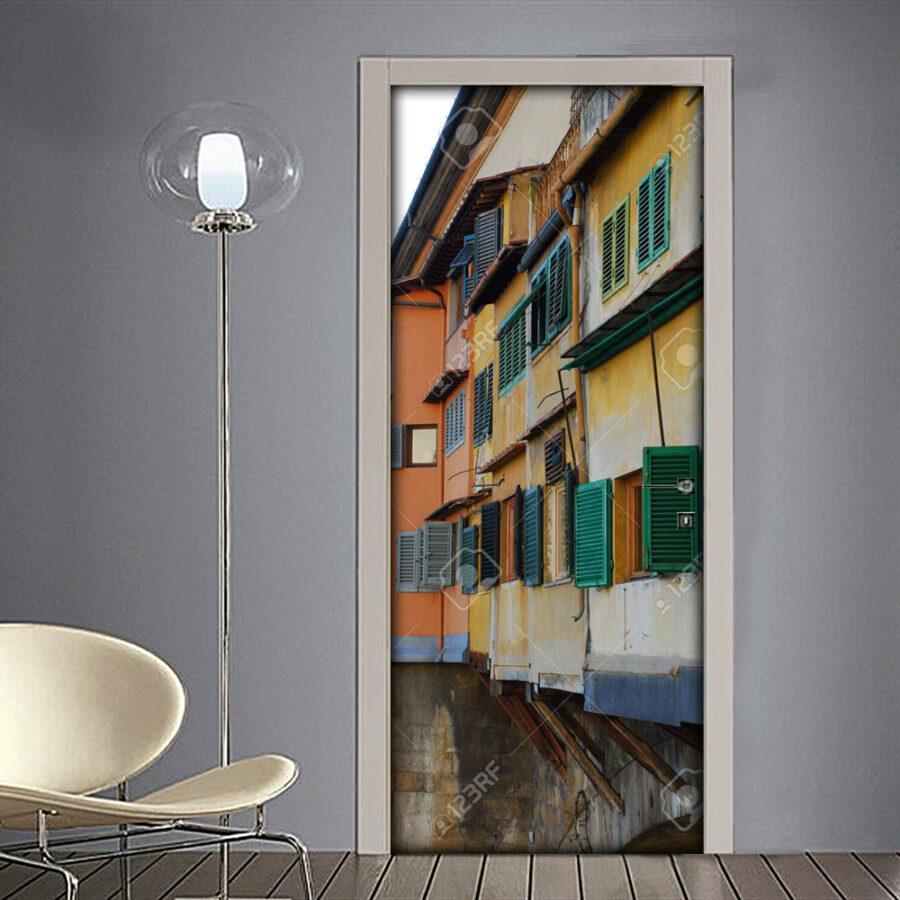 Adesivo per porte: Firenze con abitazioni su ponte Vecchio in Toscana