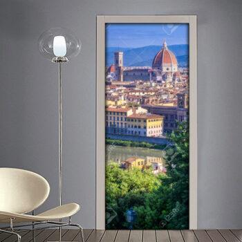 Adesivo per porte: Firenze vista panoramica della Cattedrale di Santa Maria e del Lungo Arno