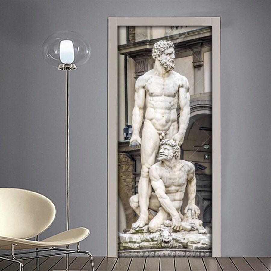 Adesivo per porta Firenze con statue in Piazza della Signoria