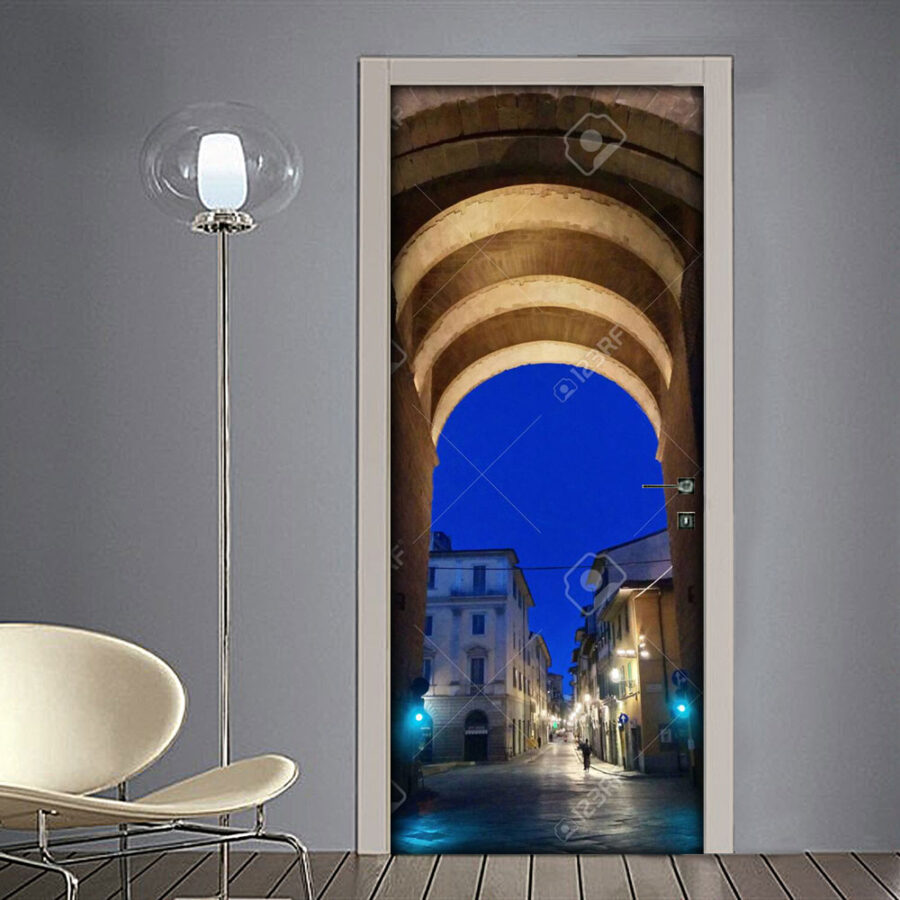Adesivo per porta Firenze di notte-porta-San-Frediano