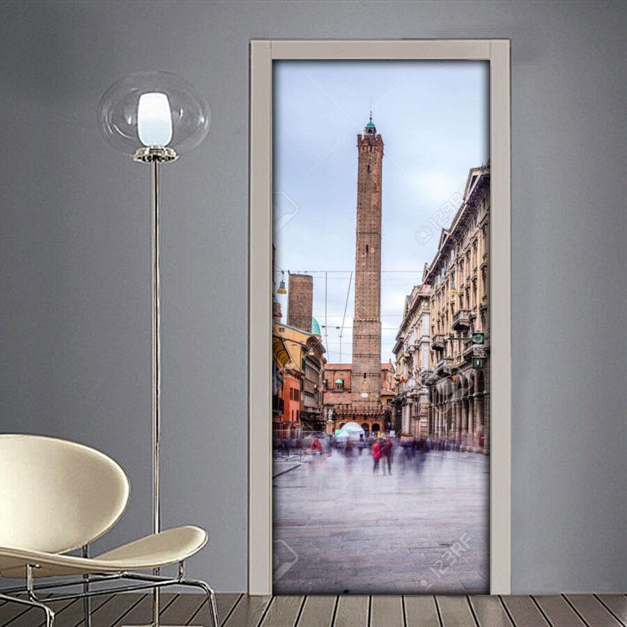 Adesivo per porta citta di Bologna con le due torri in via Rizzoli