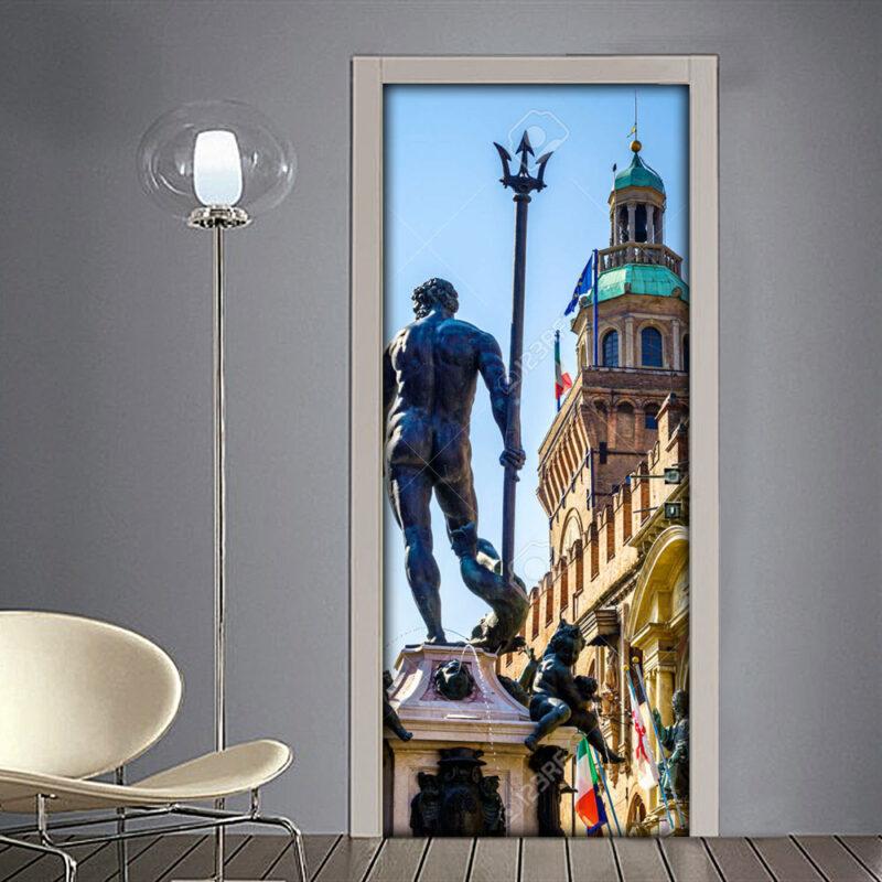 Adesivo per porta: statua di Nettuno nel centro storico di Bologna