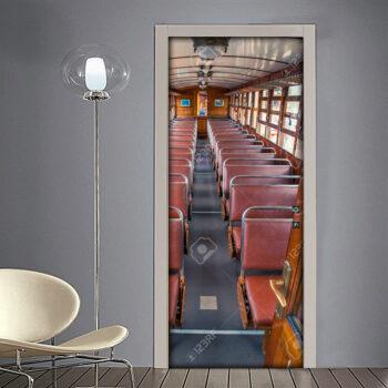 Adesivo per porta: interno di treno vintage