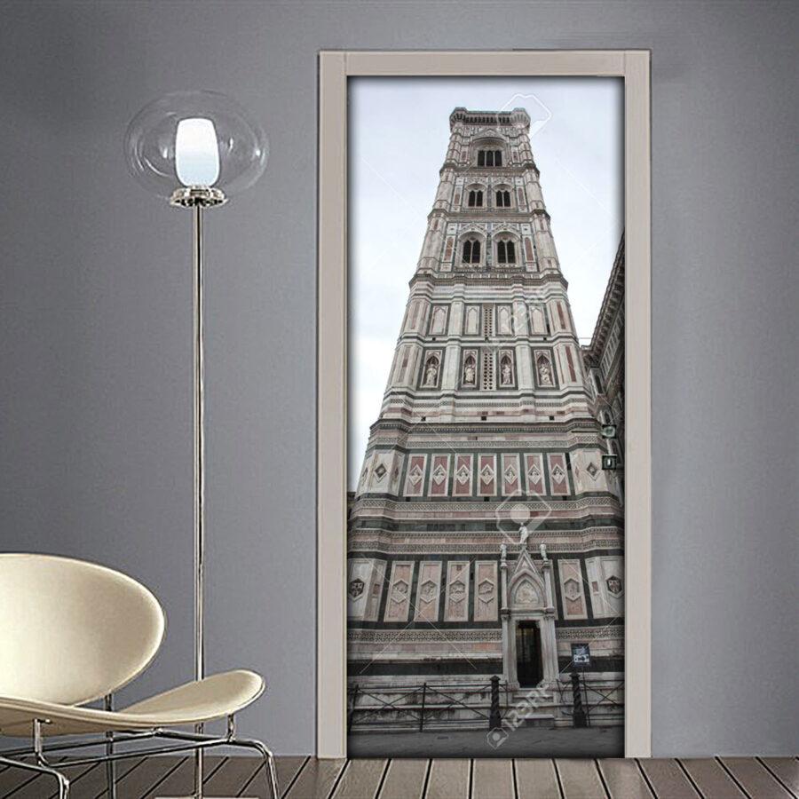 Adesivo per porta Firenze con dettaglio della torre del Duomo